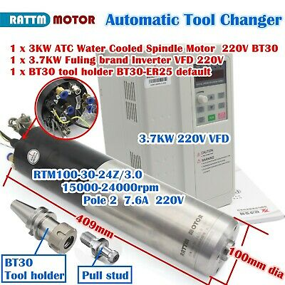 3kw 220v Bt30 Water Cooled Atc Spindle Motor Milling Automatic Tool Changevfd
