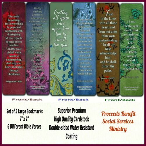 "Large 2-Sided High-Quality 7"" x 2"" Christian Encouragement Bookmarks Set of 3"