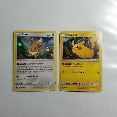 Pokemon card PIKACHU Promo SM157 and EEVEE 101a/149 holo Promo Cards! Mint!