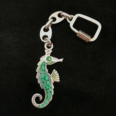 VINTAGE MEXICO TAXCO TA-40 STERLING INLAY SEAHORSE GUCCI LINK KEY CHAIN