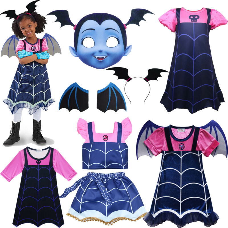 Vampirina Cosplay Karneval Kostüm Kinder Mädchen Kleid Flügel Haarband Outfits