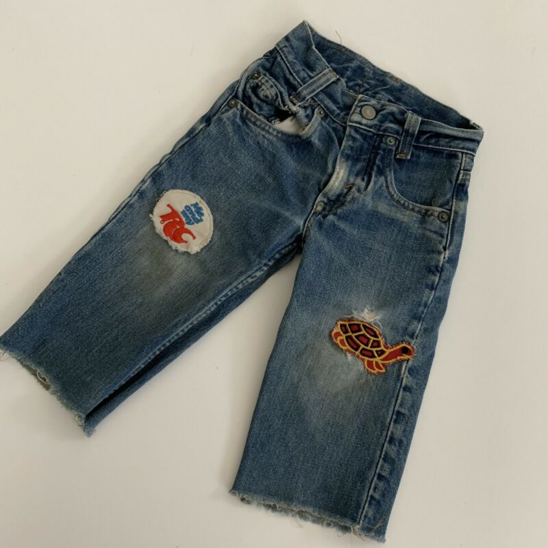 Rare Vintage 70s Levi's 303 Patch Distress Fade Talon 42 Worn Toddler Kids Jeans