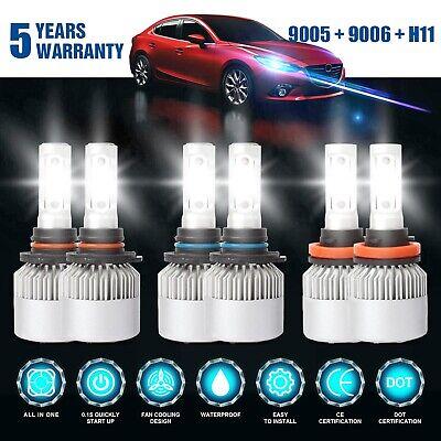 Combo 9005 + H11 + 9006 5700W 855000LM CREE LED Headlight Kit Hi Low Bulbs 6000K