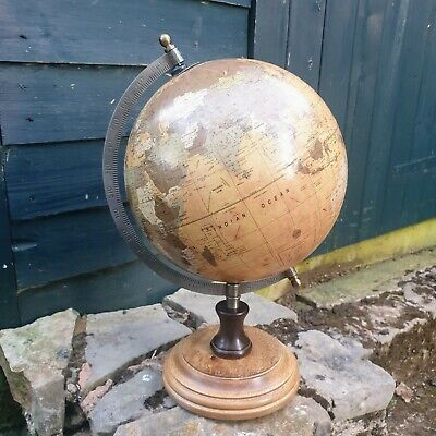 Vintage Look Globe with Wooden Round Base, World Map, Gift, 33cm High
