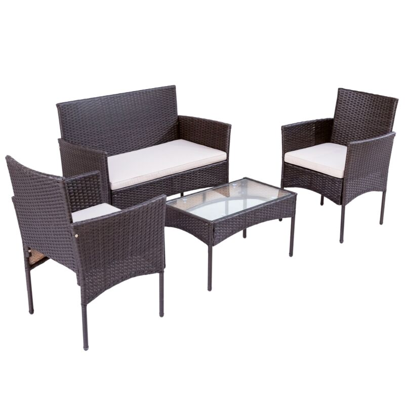 Sitzgruppe Balkonmöbel Set Gartenmöbel-Sets Sofa&Tisch Sitzkissen Terrasse Braun
