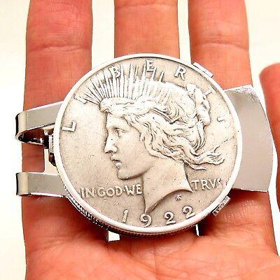 Antique REAL 900 Silver Peace Dollar Coin Money Clip Random Years w/ Gift Box Dollar Coin Money Clip