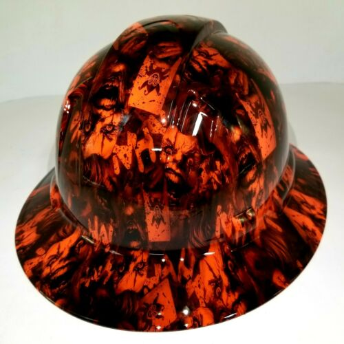FULL BRIM Hard Hat custom hydro dipped, NEW OUTRAGEOUS ORANGE JOKER HA HA 2
