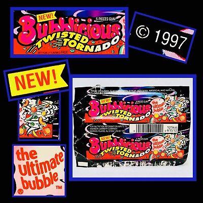 Vintage 1997 Bubblicious TWISTED TORNADO Bubble Gum Wrapper amurol fleer