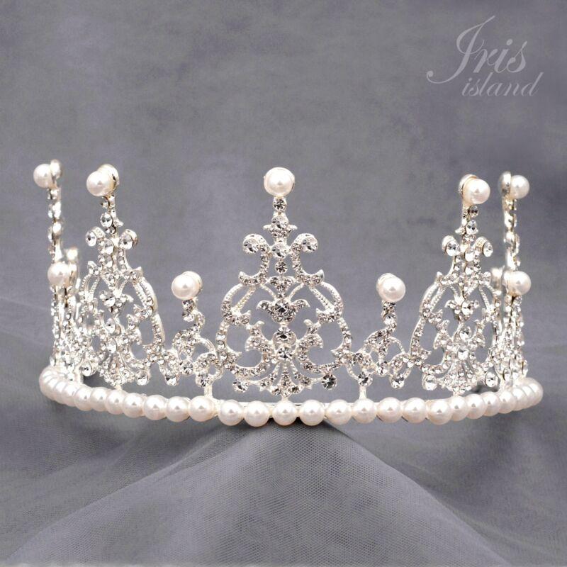 Pearl Austrian Crystal Rhinestone Pearl Tiara Crown Bridal Party Pageant 07318 S