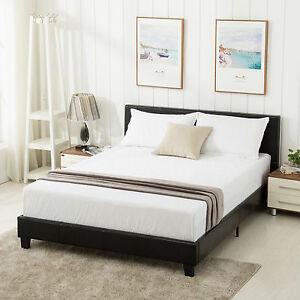 Queen Size Faux Leather Platform Bed Frame Slats Upholstered Headboard Bedroom