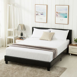 queen size faux leather platform bed frame u0026 slats upholstered headboard bedroom