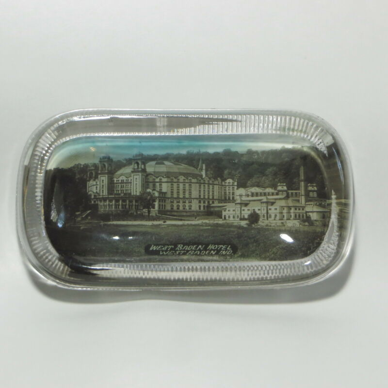 Antique Vtg West Baden Hotel Glass Paperweight Trinket Dish Indiana Souvenir