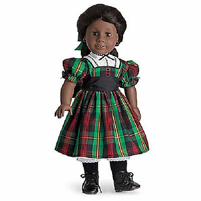 American Girl ADDY CHRISTMAS DRESS & Ribbon Green Plaid Holiday Hair NEW