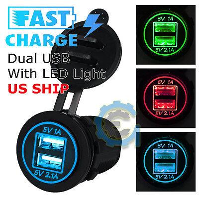 - 12V Car Cigarette Lighter Socket Splitter Dual USB Charger Power Adapter Outlet