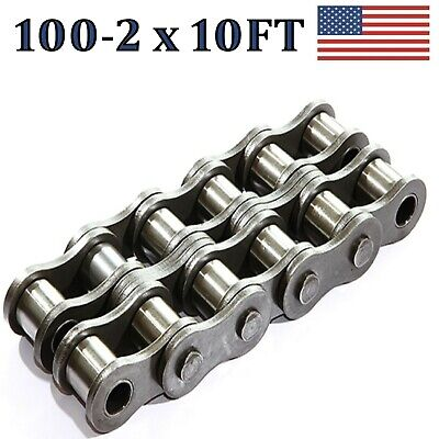 100-2 Double Strand Roller Chain 10ft With Connecting Link Same Day Shipping