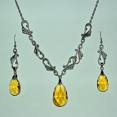 ART NOUVEAU STYLE YELLOW GLASS CRYSTAL SILVER PLATED NECKLACE EARRINGS SET HG