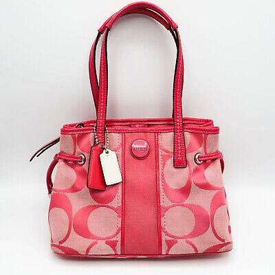 Coach Pink Signature Jacquard Leather Trim Mini Carryall Bag F22907