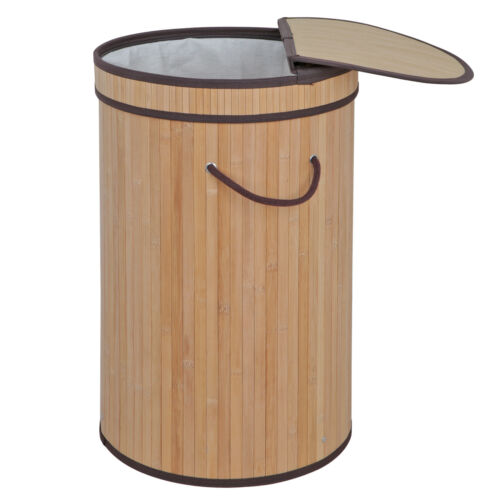 Bamboo Laundry Hamper Round Basket Sorter with Lid Natural L