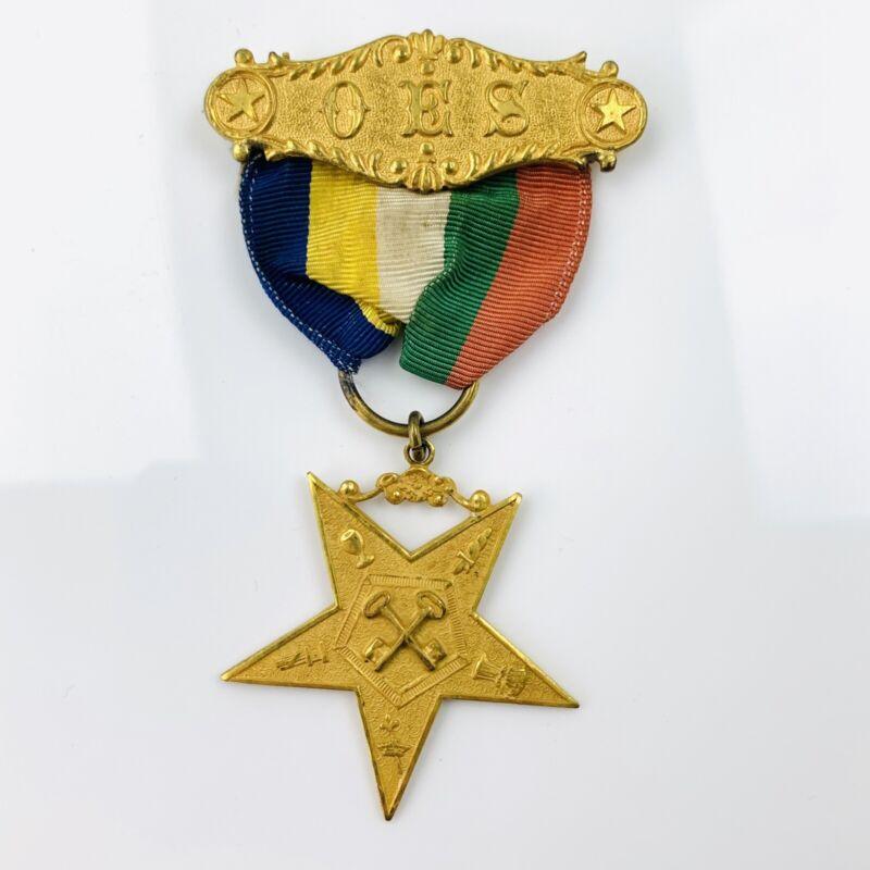 Vtg OES Order Of The Eastern Star Gold Tone Medal & Ribbon Keys Symbol