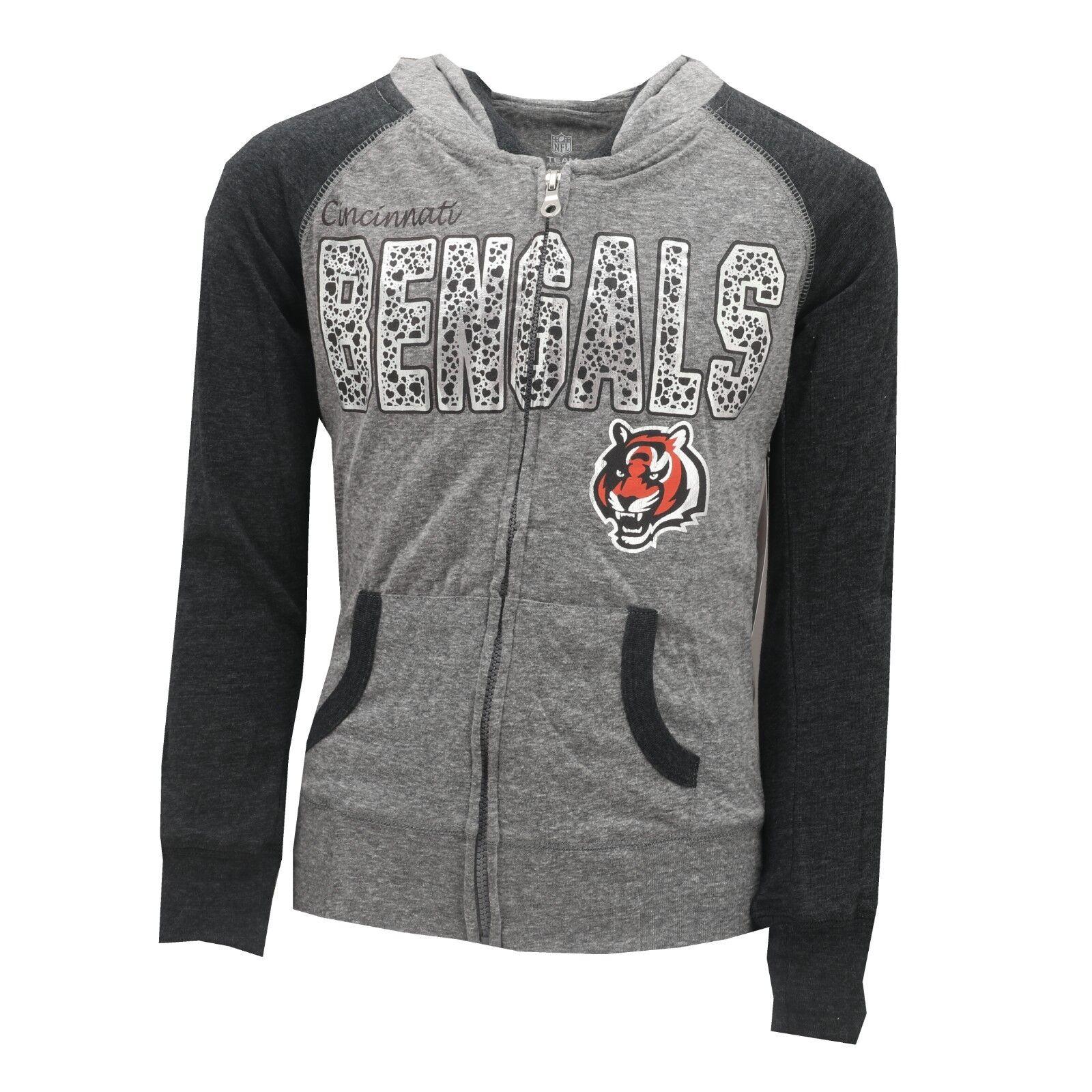 buy popular 8bb44 c16e6 Details about Cincinnati Bengals Official NFL Kids Youth Girls Light Hooded  Sweatshirt New
