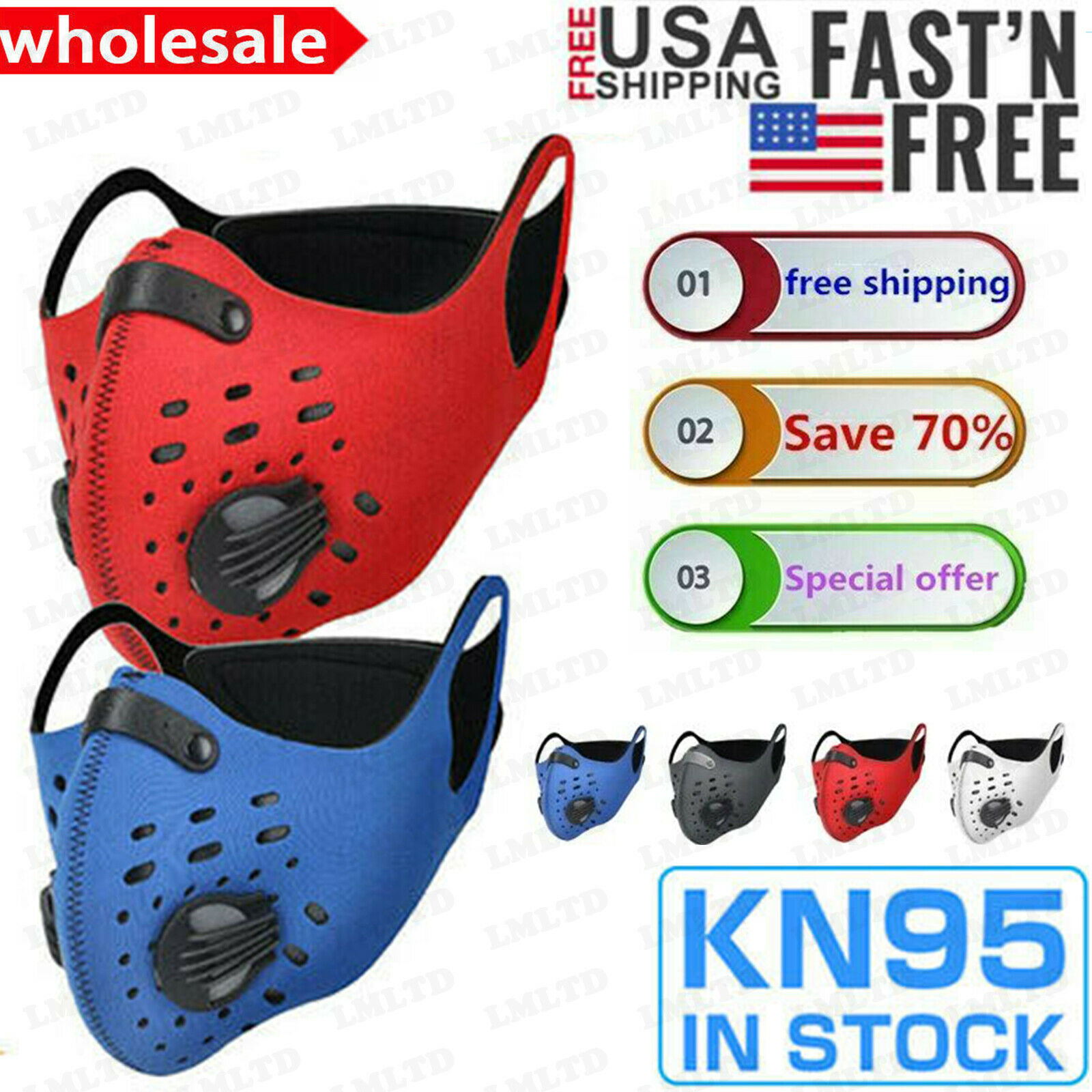 face mask reusable cycling cover dual valves