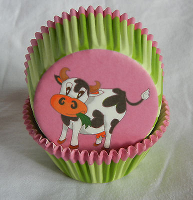 50 adorable cow green stripe cupcake liners baking paper cup muffin case 50x33 - Cow Cupcake Liners