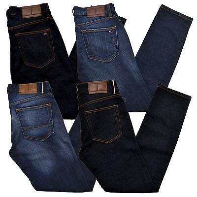 Stonewashed Jeans - Tommy Hilfiger Jeans Mens Slim Fit Denim Pants Flag Logo Rinsed Stonewashed New