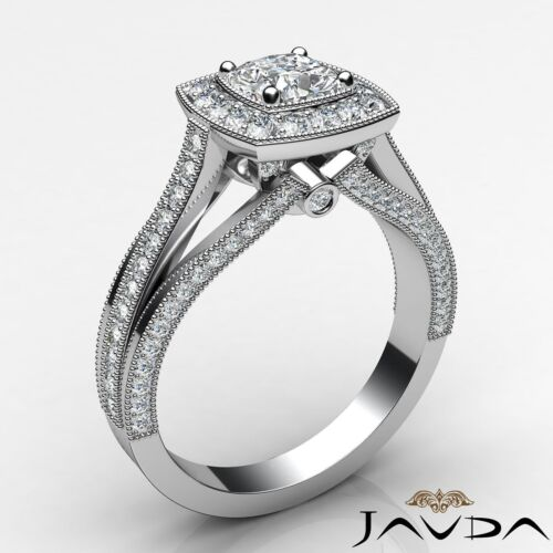 Cushion Cut Diamond Engagement Halo Pave Set Ring GIA G VS1 18k White Gold 1.4Ct 1
