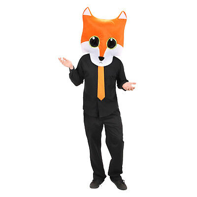 Adult Plush Red Fox Mascot Costume Mask Head MASKot Cute Animal Anime Funny Easy](Easy Halloween Mask)