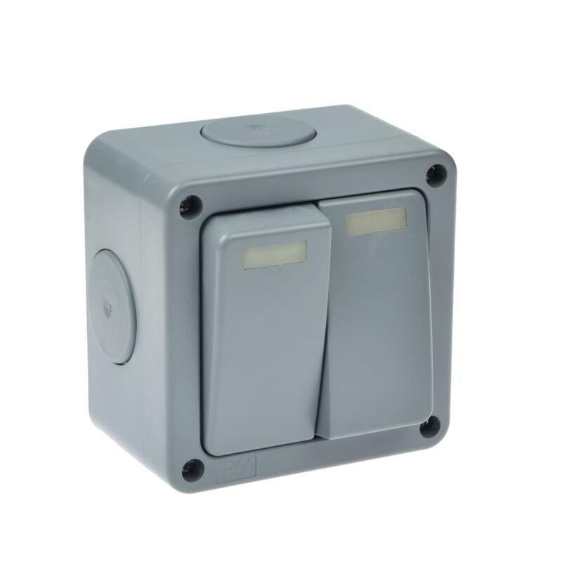Outside Light Switch 2 Gang 2 Way Outdoor Weatherproof Waterproof Switch IP66