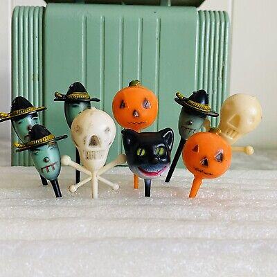 Vintage Halloween Blow Mold Pick Cake Topper Tops Witch Cat Skeleton Pumpkin Lot