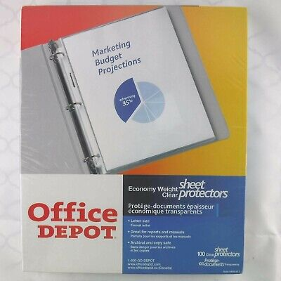 Office Depot Clear Sheet Page Protectors Sleeves 8 12 X 11 Sealed 100 Pack