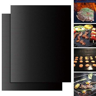 BBQ Grill Mat Accessories Non-Stick, Reusable and Heat Resistant, Set of 2, New ()
