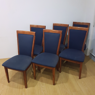 6 x dining chairs - navy blue upholstered timber chairs