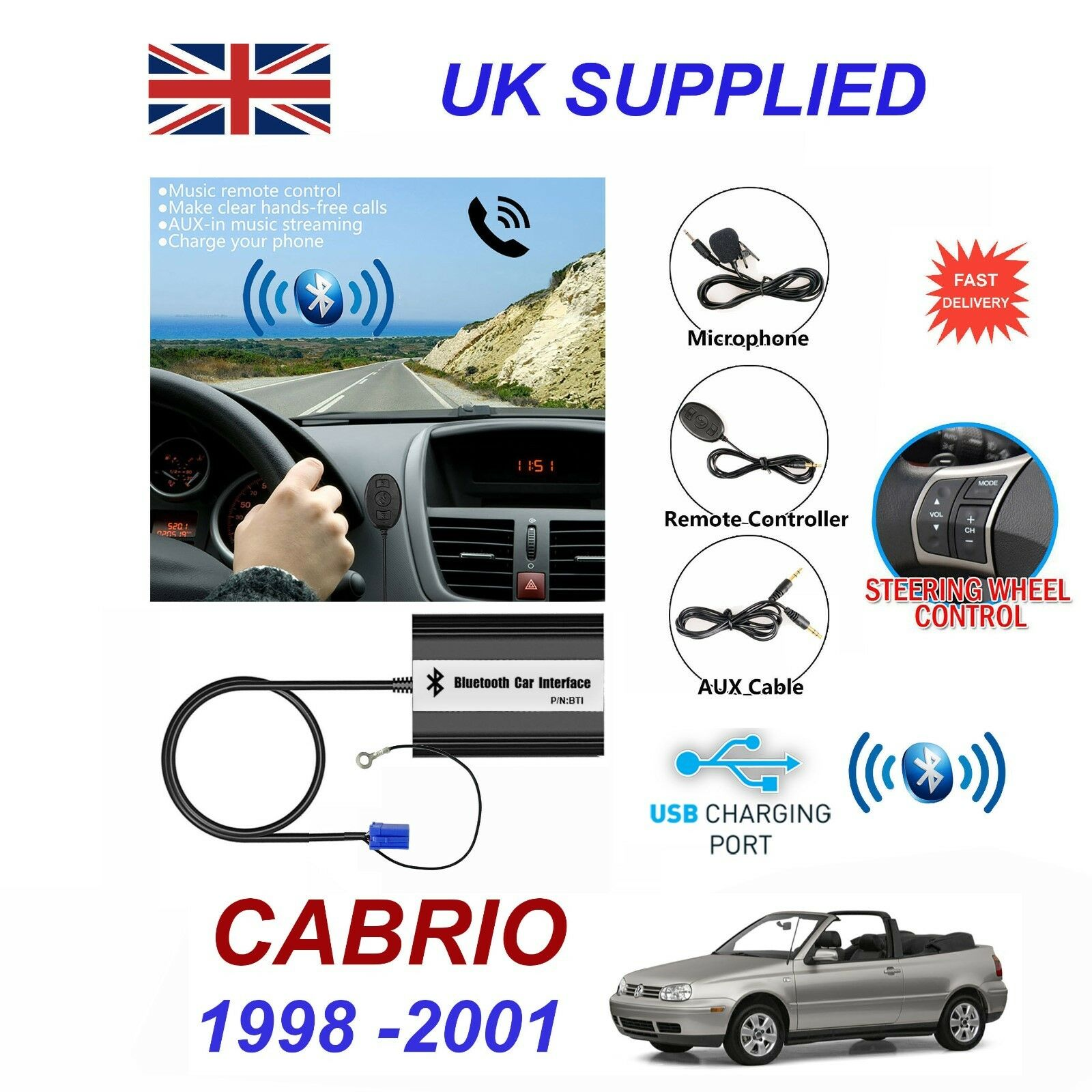 For VW CABRIO Bluetooth Hands Free Phone AUX Input MP3 1.0A USB Charger Module