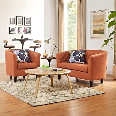 2 Piece Fabric Loveseat - Modway Prospect 2 Piece Upholstered Fabric Loveseat and Armchair Set in Orange