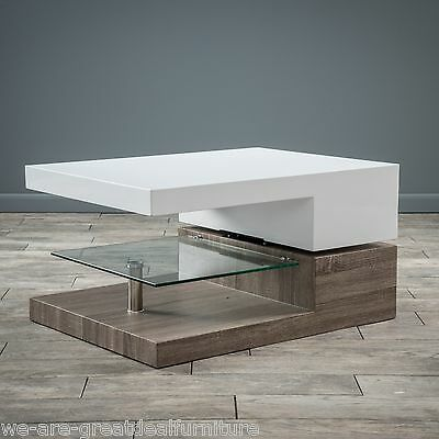 تربيزه جديد Modern Design White Gloss Wood Rectangular Swivel Coffee Table w/ Glass