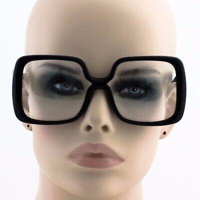 OVERSIZED VINTAGE XXL Clear Lens EYE GLASSES Large Black Fashion (Large Frame Male)