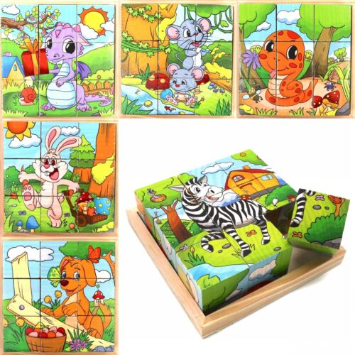 Wooden Cube Blocks For Kids Toddlers Educational Toy Puzzle - Animal Series