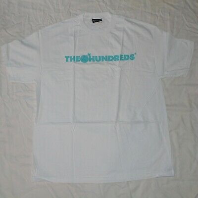 The Hundreds Wavy Logo Tee T Shirt White Blue Adam Bomb Size -