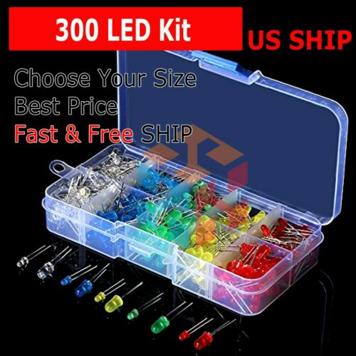 300Pcs 3mm 5mm LED Light White Yellow Red Blue Green Assortment Diodes Set Kit