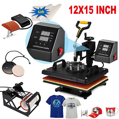 5in1 15x12 Combo T-shirt Heat Press Transfer Printing Machine Swing Away