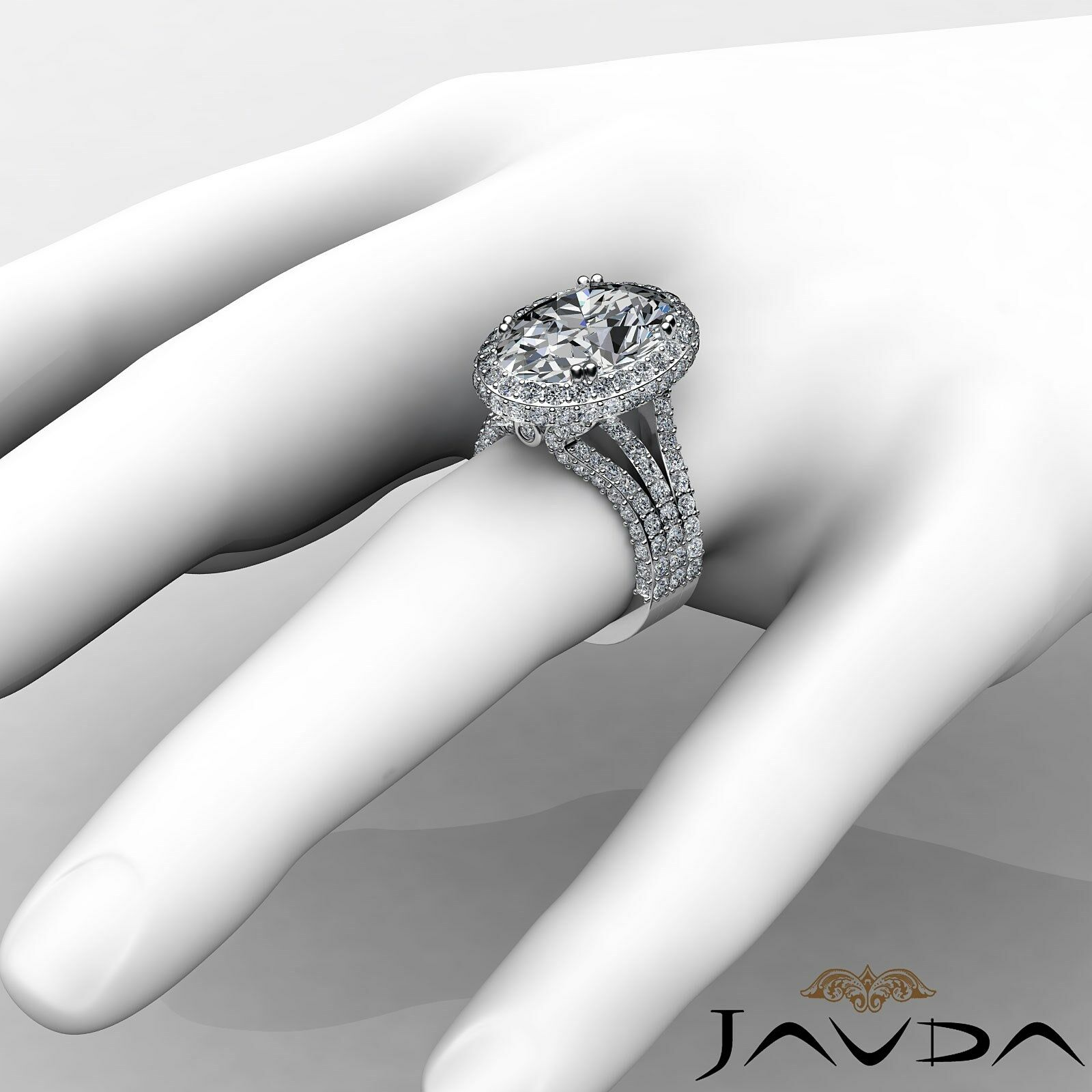 Double Prong Circa Halo Pave Bezel Oval Diamond Engagement Ring GIA F VS1 3.65Ct 3