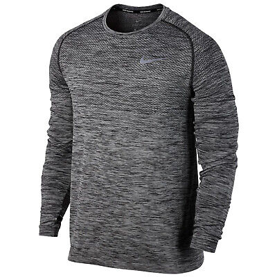 Nike Mens Dri-Fit Knit Long Sleeve Raglan Running Top Swoosh Training T-Shirt