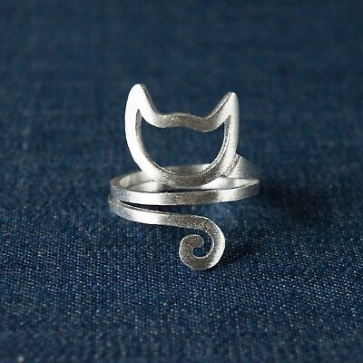 Cat Silver Plated Ring (Cute Silver Plated Double Bands Spiral Cat Head and Tails Adjustable Ring )