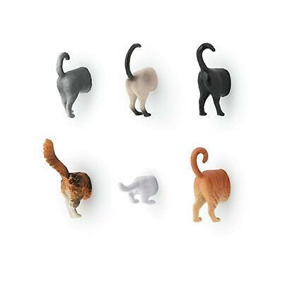 Kikkerland Set Of 6 Cat Butt Small Fridge Novelty Funny Magnets Tabby Gift Idea