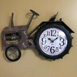 Rustic Antique Tractor Clock, Vintage Style Wall Clock, Farmhouse Inspired Decor