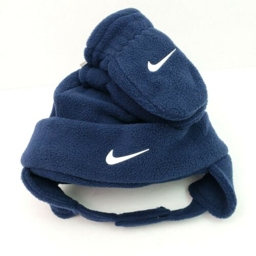 Nike Boy Toddler Obsidian Blue Fleece Trapper Hat & Mittens Winter Cold Set