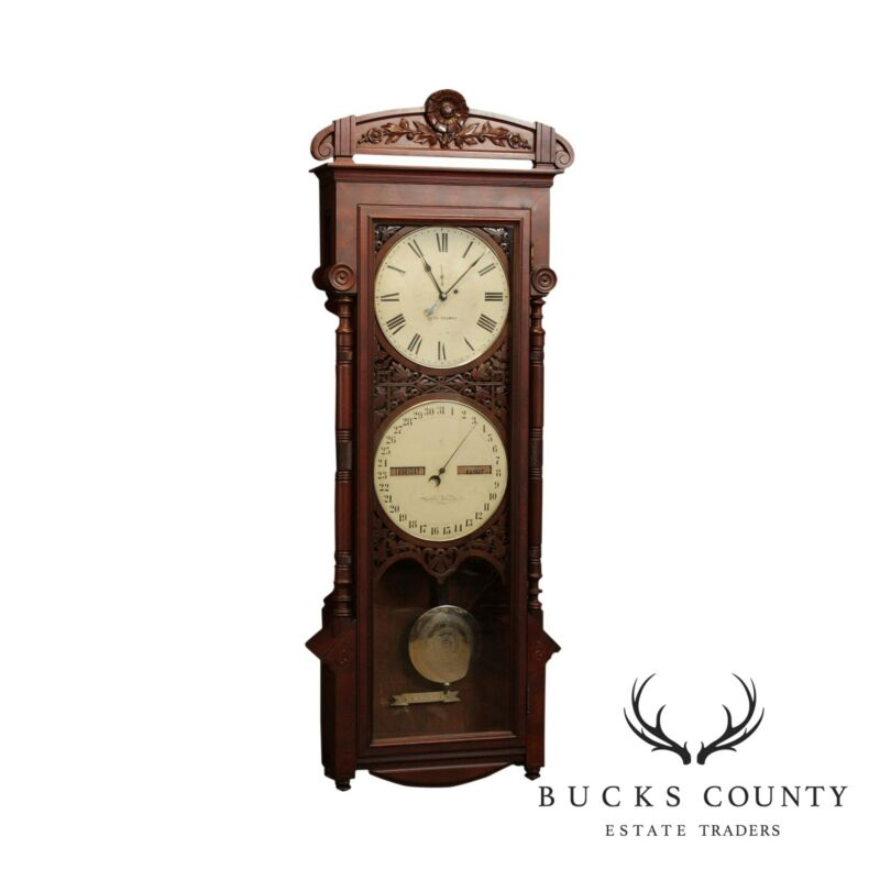 Seth Thomas Antique Victorian Walnut # 11 Office Calendar Clock