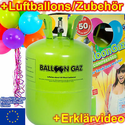 BALLONGAS + LUFTBALLONS + RIBBONS - Heliumflasche Heliumgas - Dekorationen Party
